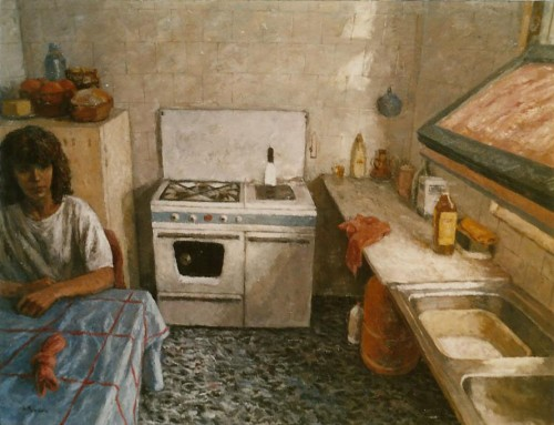 1. THE KITCHEN. Oil on canvas. 114x146 cm.