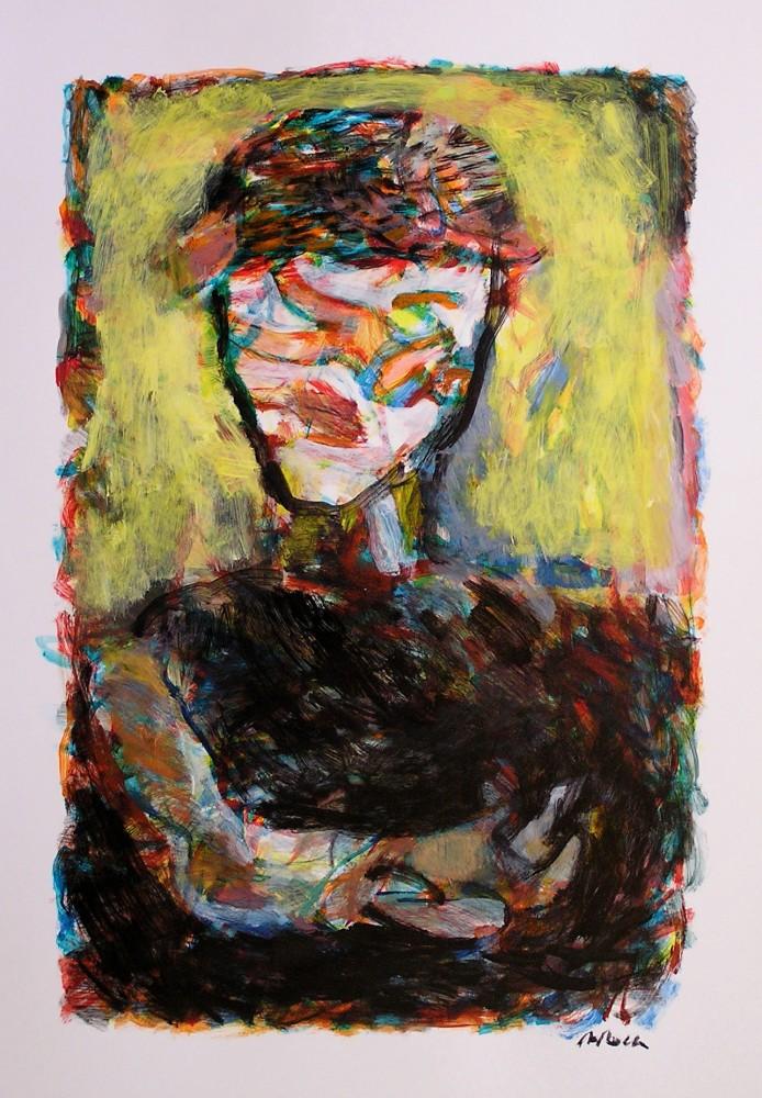 ROSTRE I FIGURA/ROSTRO Y FIGURA/FACE AND FIGURE.  Acrílic sobre paper/Acrílico sobre papel/Acrylic on paper.  70x50 cm.
