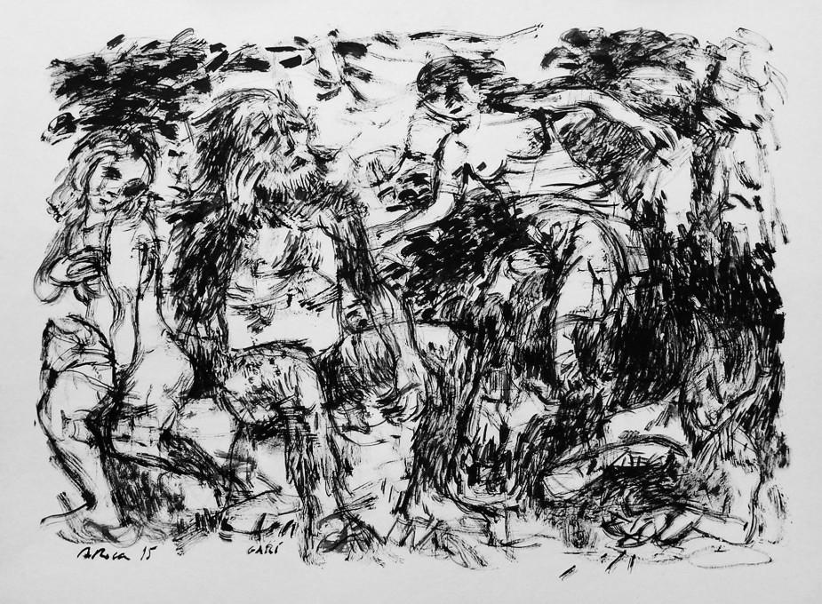 GARÍ.  Tinta sobre paper/Tinta sobre papel/Ink on paper.  48x64 cm.