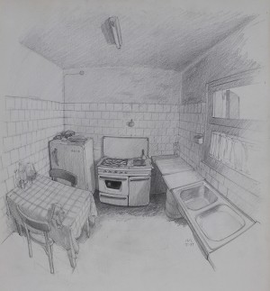 3. THE KITCHEN. Pencil on paper. 40x34 cm.