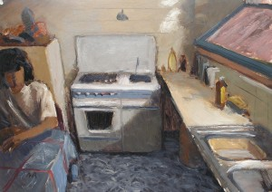 2. THE KITCHEN. Oil on paper. 50x70 cm.